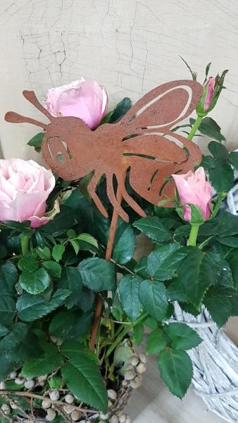 Edelrost kleine Biene Bee, Gartenstecker für Frühling + Sommer, Gartendeko aus Metall, L33cm