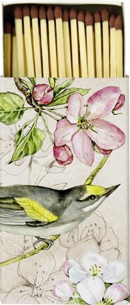 IHR Streichhölzer 45 St. Birds Symphony cream, Vogel auf Blütenzweig, Blüten Deko