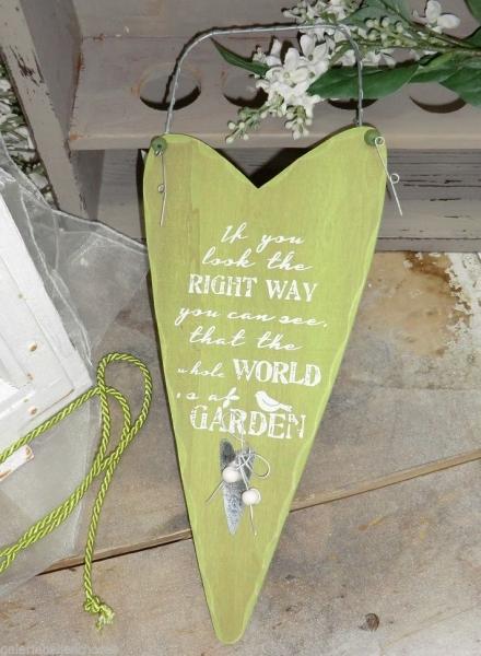 Gehlmann Holzherz zum Hängen grün, mit Text