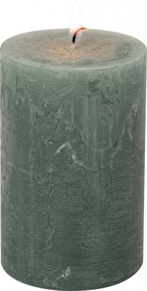 IHR Stumpenkerze grün salbei, d7xh11cm, Cylinder Candle, Stumpe, Brenndauer 51 Std.