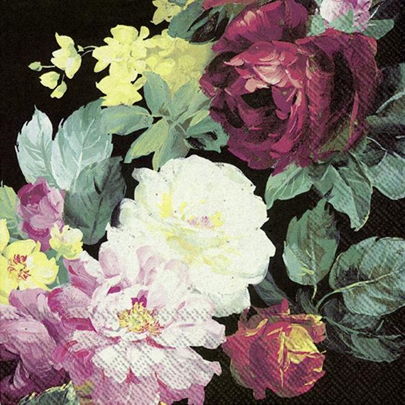 IHR 20 Lunch Papier Servietten Vintage Big Rose black, Rosenblüten, Blumen 33x33