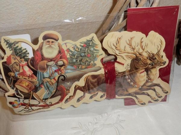 Girlande aus Papier - Nikolaus / Weihnachtsmann mit Schlitten, Rentiere, viktorianische Weihnacht