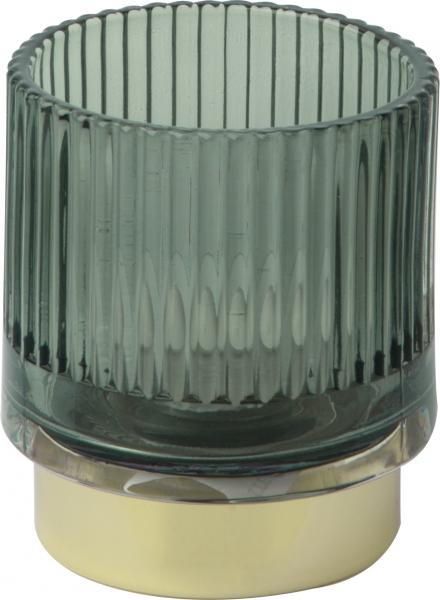 IHR Teelichthalter h 9 cm, grün mit Goldrand, aus Glas, Windlicht, Tischdeko für Weihnacht und Fest
