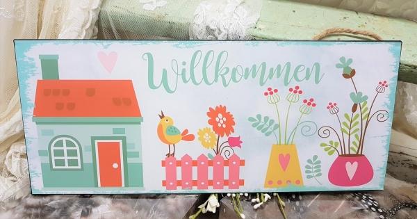 Türschild Willkommen, Begrüßung für die Haustür, verspielte naive Darstellung, Blechschild 30x12