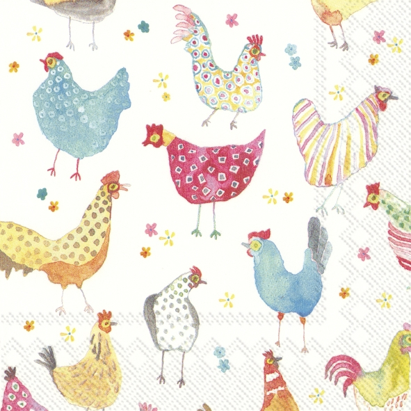 IHR 20 Lunch Servietten Jolly hens, fröhliche Hühner, für Ostern, Frühling Deko Party
