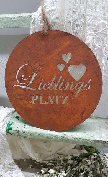 Türschild LieblingsPLATZ Edelrost, rundes Metallschild, d ca.20 cm, Eisen, für den Garten