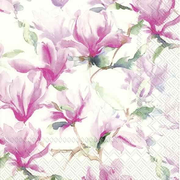 IHR 20 Lunch Servietten Magnolia Poesie white, Magnolie, Frühling Feier Fest 33x33