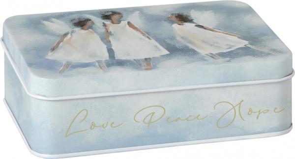 IHR Konfektdose Love Peace Hope, Keksdose, Liebe Frieden Hoffnung, Engelmotiv Weihnacht