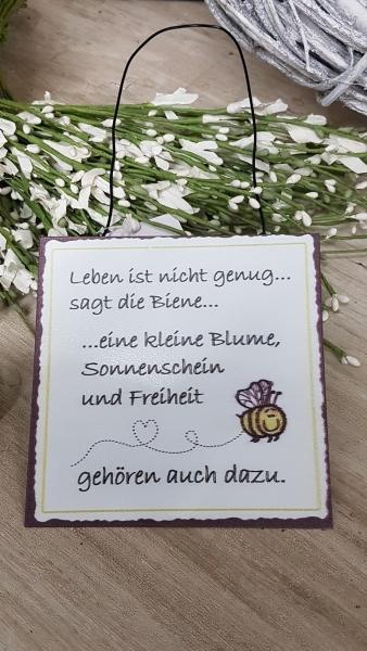 Blechschild Leben ist nicht genug sagt die Biene....Türschild aus Metall 20x20
