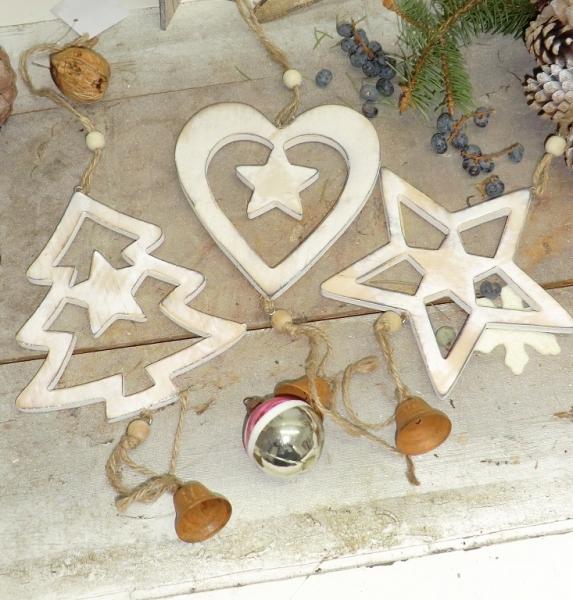 3er Set Holz Anhänger im Landhausstil für Weihnachten, Herz, Stern und Tannenbaum als Baumschmuck