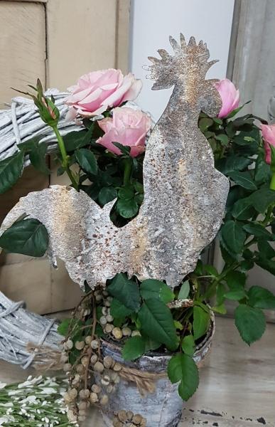 Gartenstecker Metallhahn, Gartendeko, Shabby Stil, toll rustikal