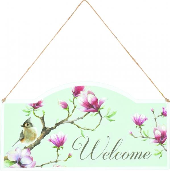 """IHR Türschild Spring Melody """"Welcome"""" Magnolie Vogel im Frühling, aus Metall"""