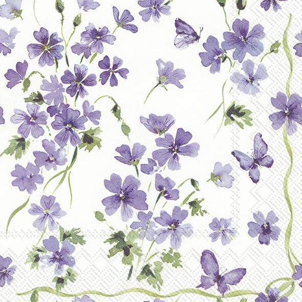 IHR 20 Lunch Servietten Purple spring, Veilchen und Schmetterling, für Fest Ostern Deko Feier