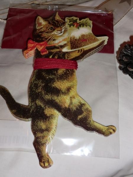 Girlande aus Papier - Katze mit Weihnachtskuchen, viktorianische Weihnacht