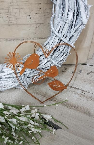 Metallherz mit Vogelpaar - Love, Liebe, Hängedeko aus Edelrost