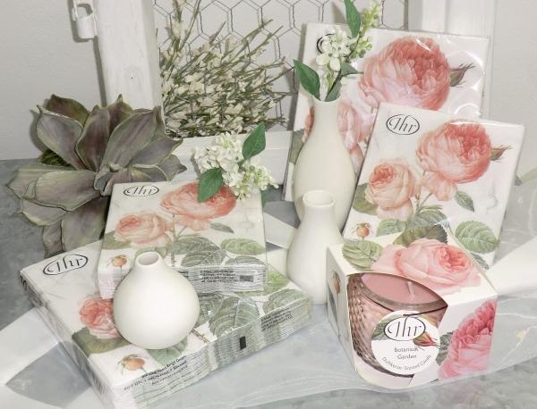 IHR Geschenk-Set: Duftkerze + 3er Vasenset klein, Lunch + Cocktail-Servietten Elisabeth Rose