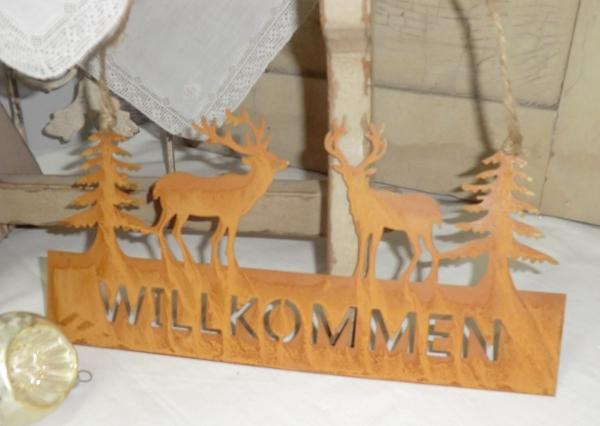 Türschild WILLKOMMEN mit Hirschen Tannen, Edelrost Metall, Weihnachtshänger, Winterdeko