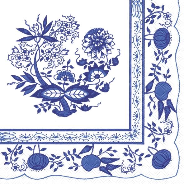 IHR 20 Lunch Servietten Zwiebelmuster blau, klassisches Motiv für Fest Hochzeit Deko Feier