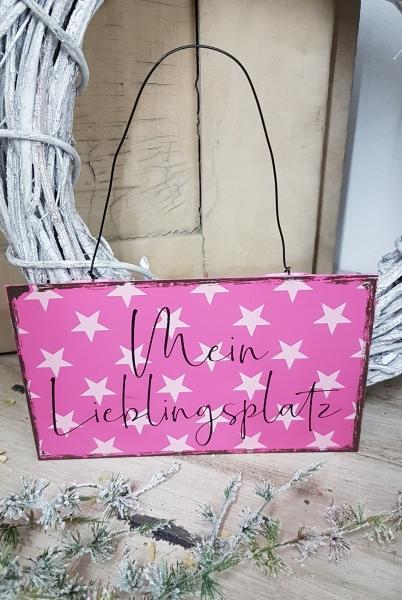 Türschild Mein Lieblingsplatz, pink mit Sternen, Blechschild 20 x 11,5 cm Metall