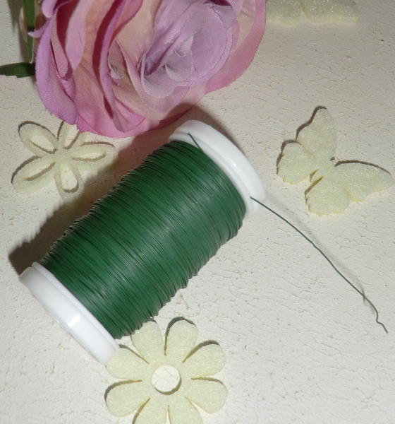 1 Rolle Bindedraht grün 0,35 mm, Myrtendraht, Wickeldraht für Floristik