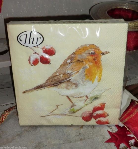 """IHR Lunch Servietten """"Winter robin"""" - cream"""