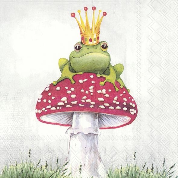 IHR 20 Lunch Papier Servietten Lucky Frog Frosch, Froschkönig mit Krone auf Fliegenpilz