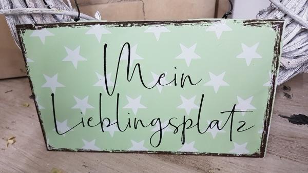 Türschild Mein Lieblingsplatz, zartgrün mit Sternen, Blechschild 20 x 11,5 cm Metall