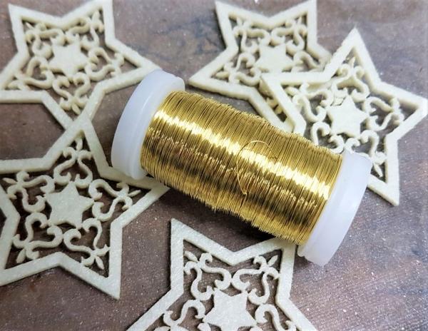 1 Rolle Bindedraht, 100 g Golddraht 0,2 mm, ca.160 m Myrtendraht, Wickeldraht