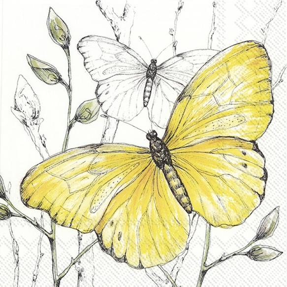 IHR 20 Lunch Papier Servietten Colourful Butterflies yellow, Schmetterlinge, Sommer, 33x33