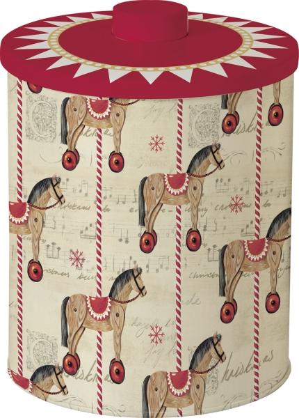 IHR Gebäckdose Carousel Horse, Keksdose, Karussellpferd, Holzpferd, Weihnacht Pferd